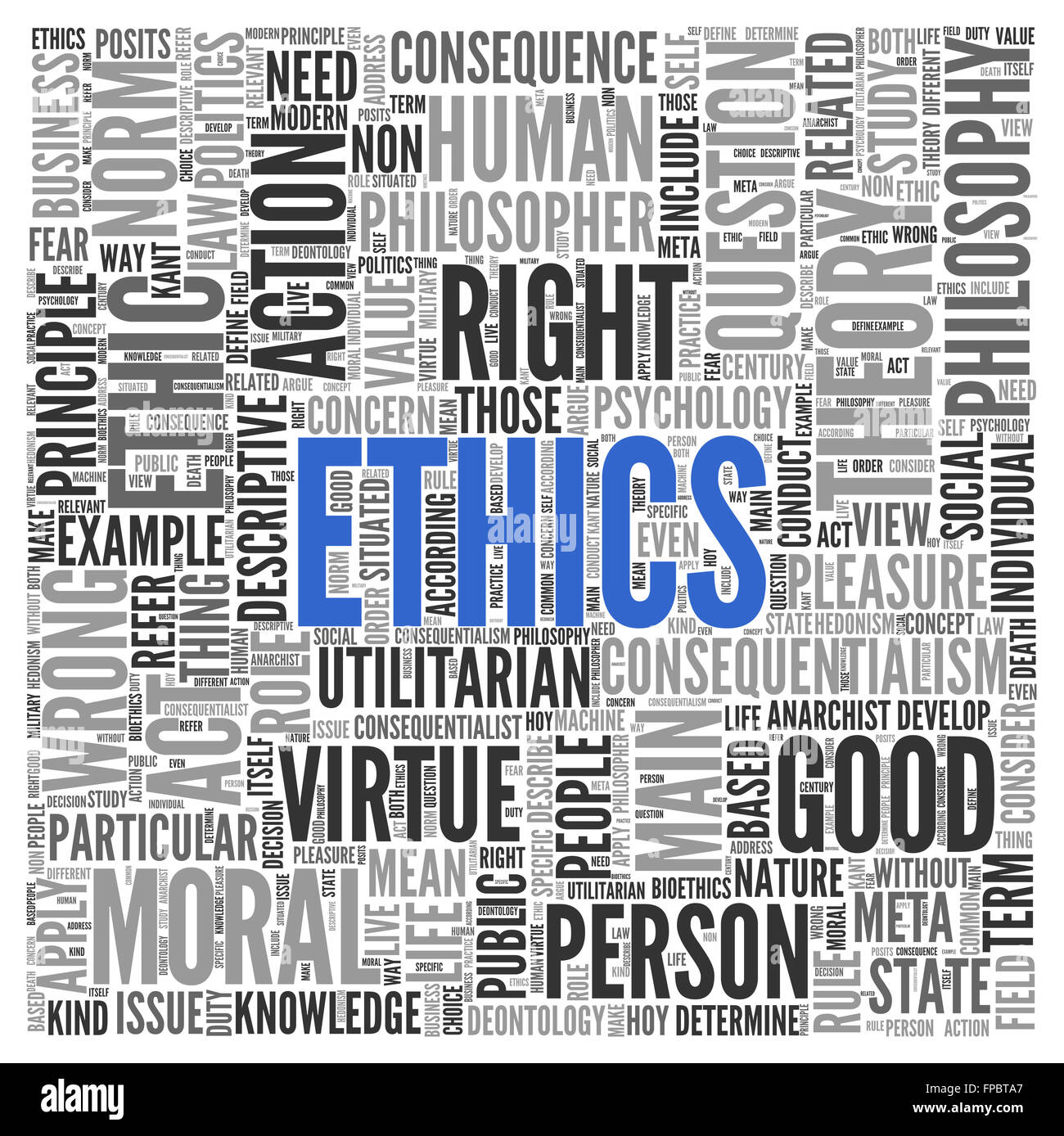 Close up ETHICS Text at the Center of Word Tag Cloud on White Background. - Stock Image