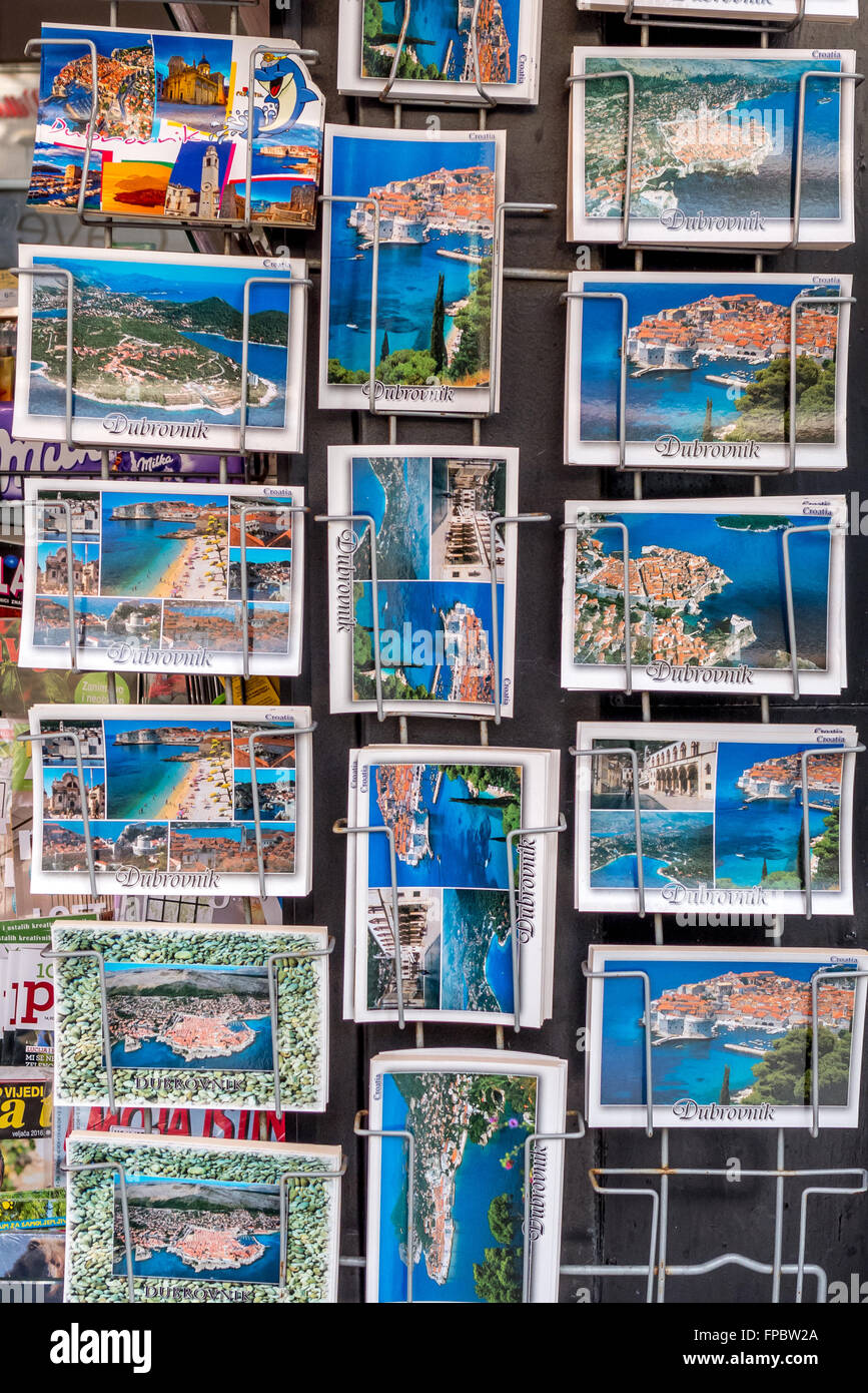 Souvenirs on sale to tourists at shops in the old city of Dubrovnik. - Stock Image