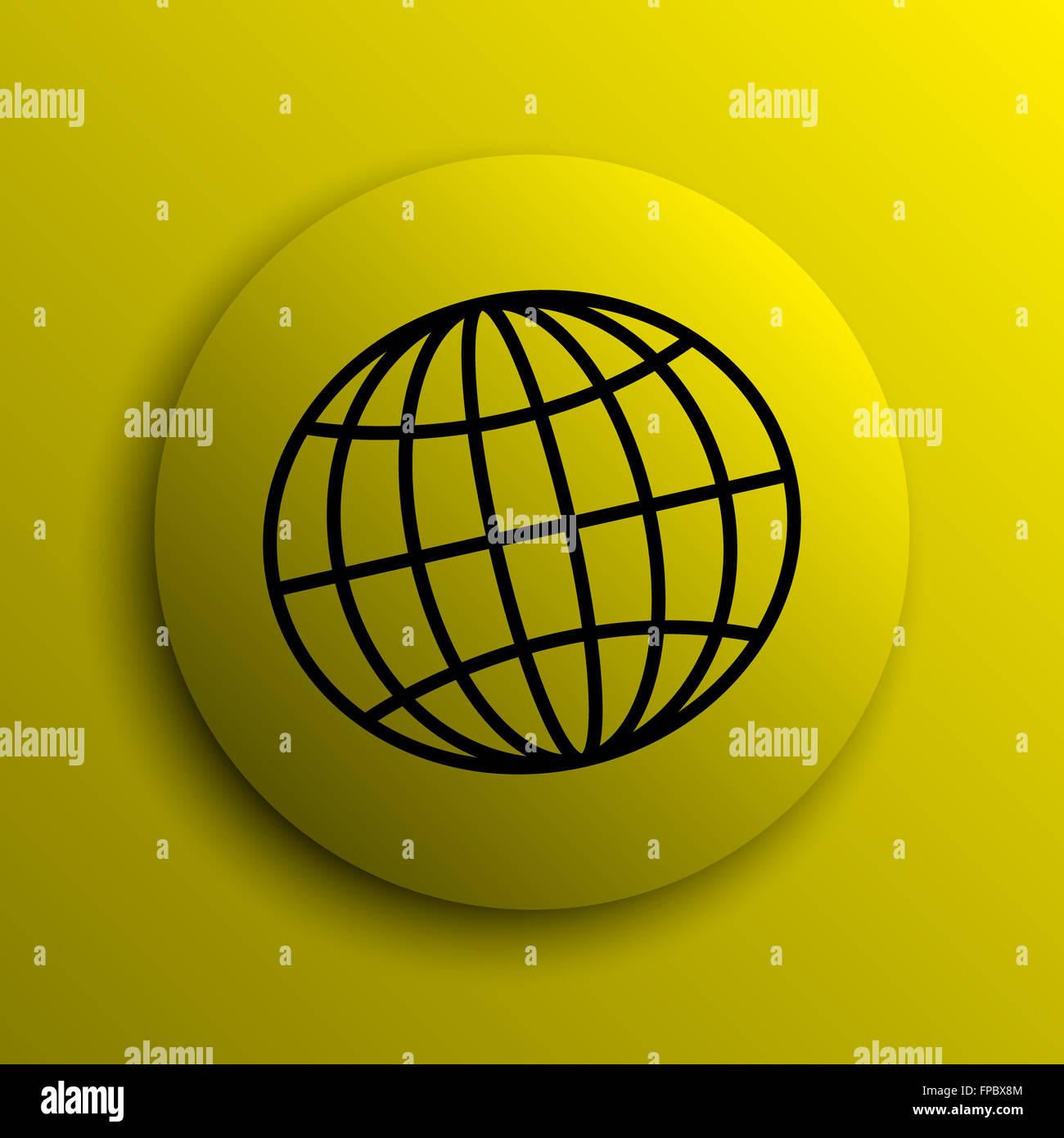 Globe icon  Yellow internet button Stock Photo: 99836372 - Alamy