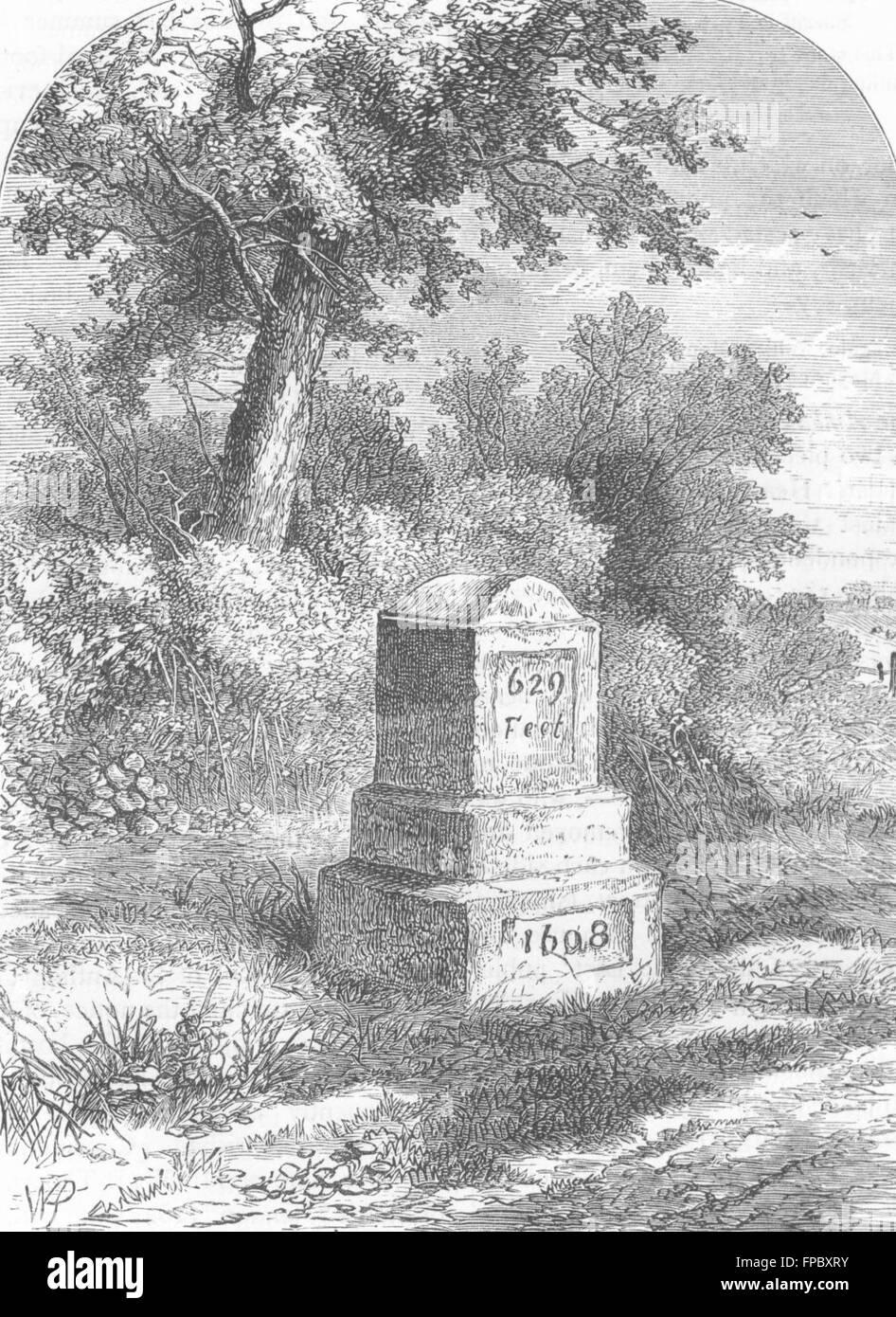LONDON: Holloway: Whittington's Stone in 1820, antique print 1880 Stock Photo