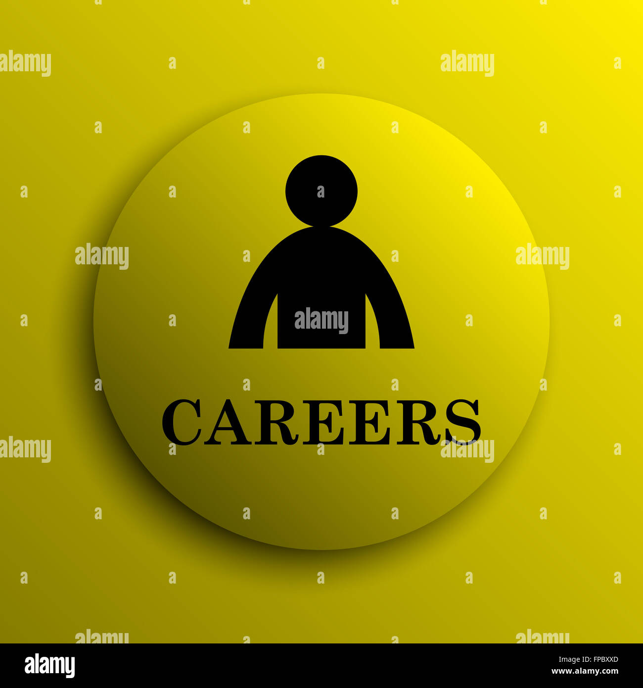 Careers icon. Yellow internet button. - Stock Image