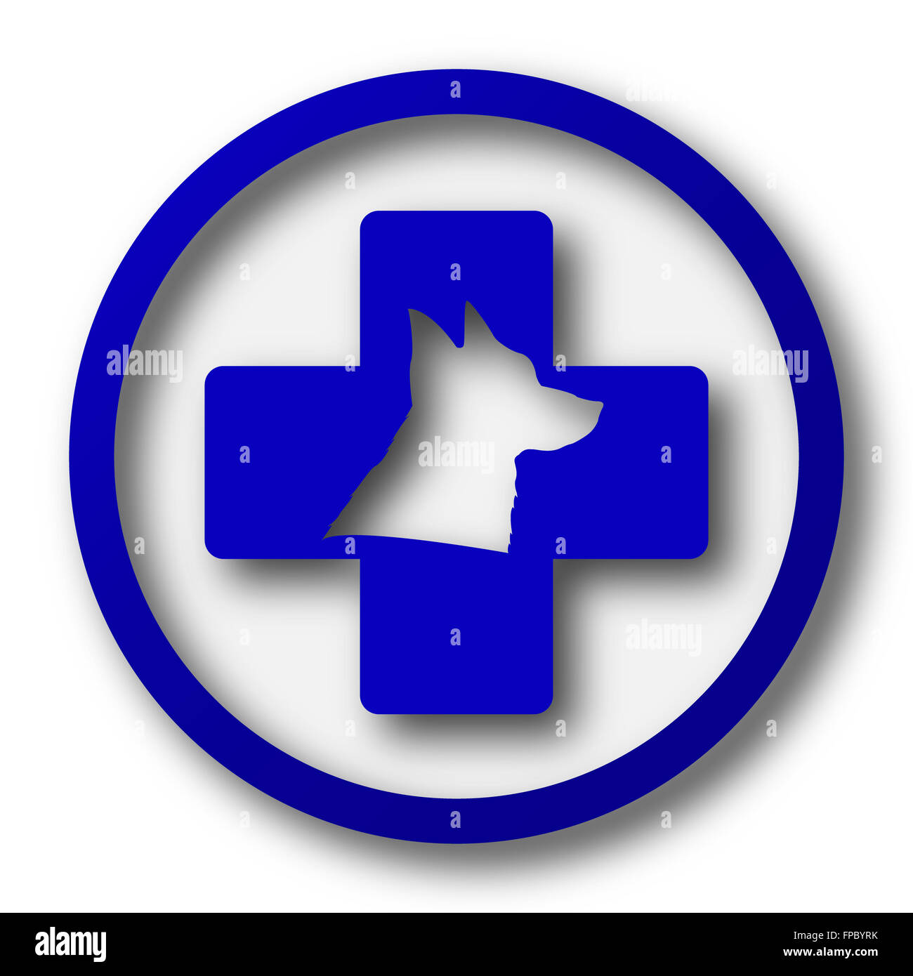 Veterinary icon. Blue internet button on white background. - Stock Image