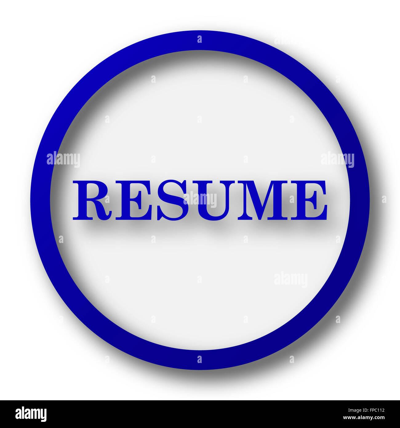 Resume Icon Blue Internet Button On White Background Stock Photo