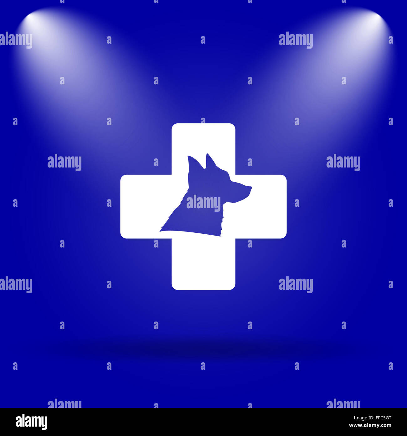 Veterinary icon. Flat icon on blue background. - Stock Image
