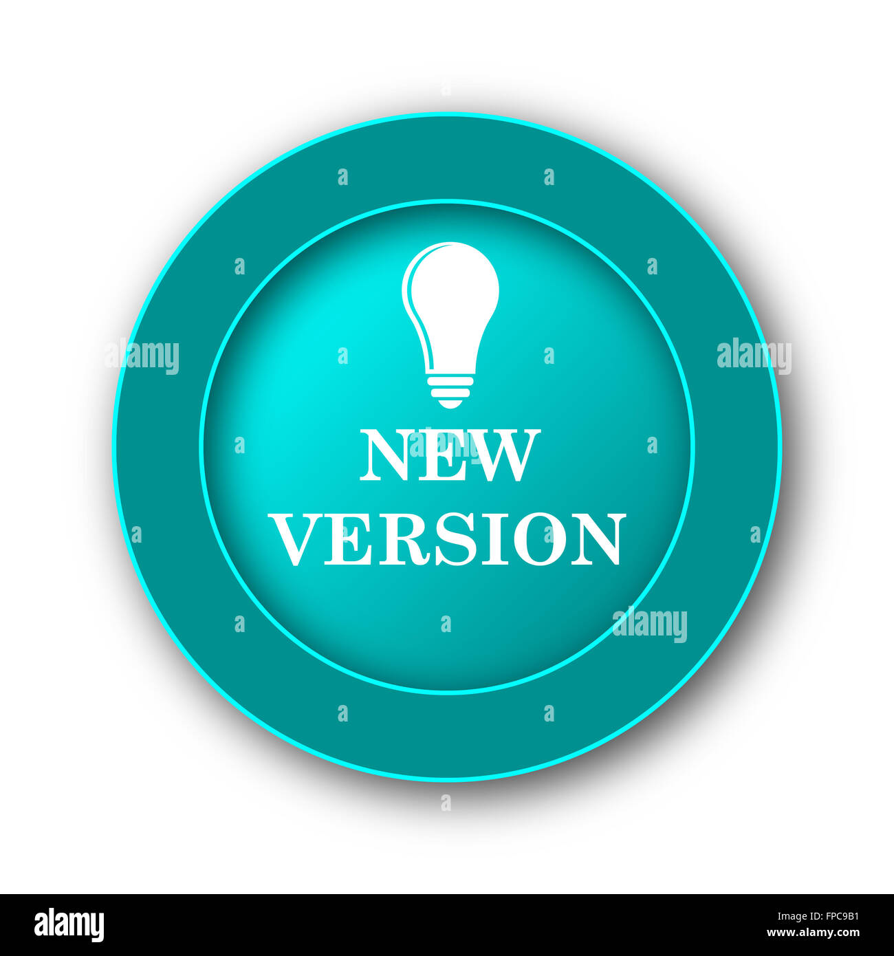 New version icon. Internet button on white background - Stock Image