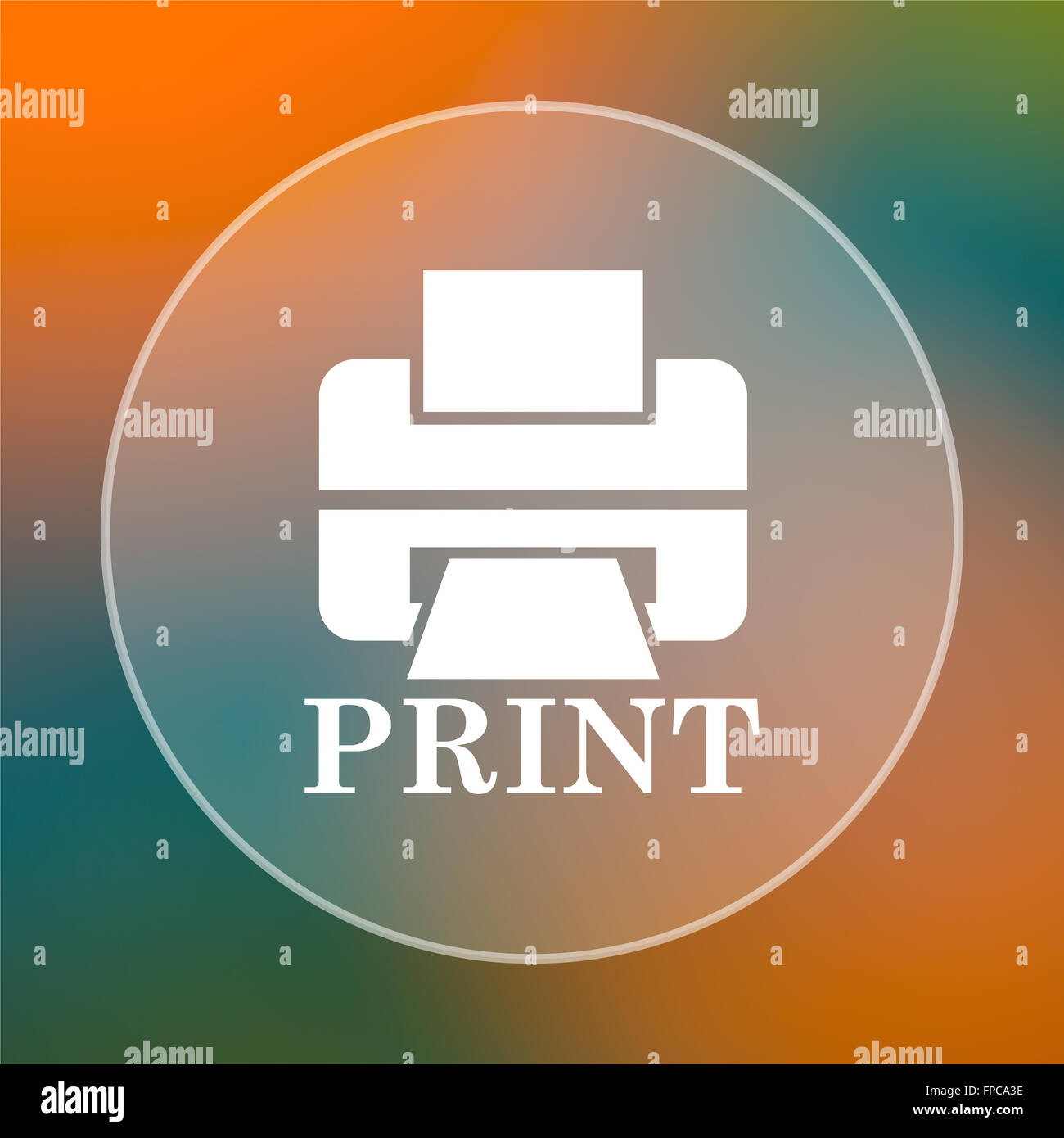 Printer With Word PRINT Icon Internet Button On Colored Background