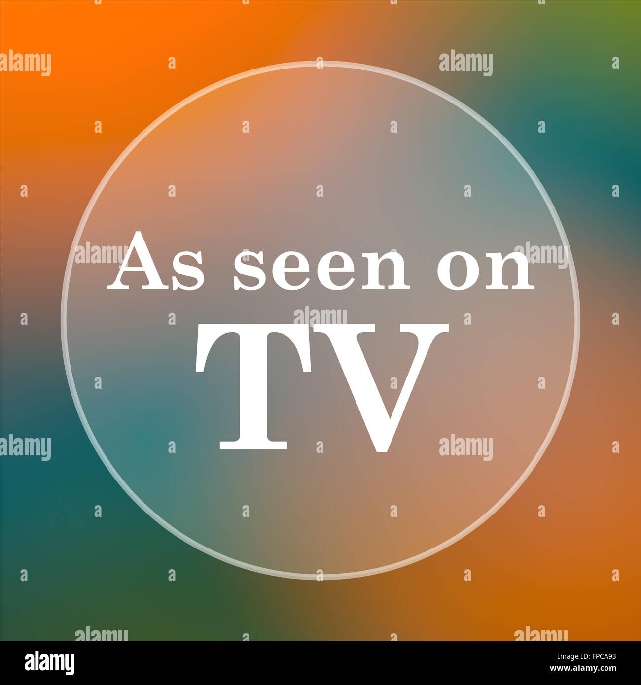 As seen on TV icon. Internet button on colored  background. - Stock Image