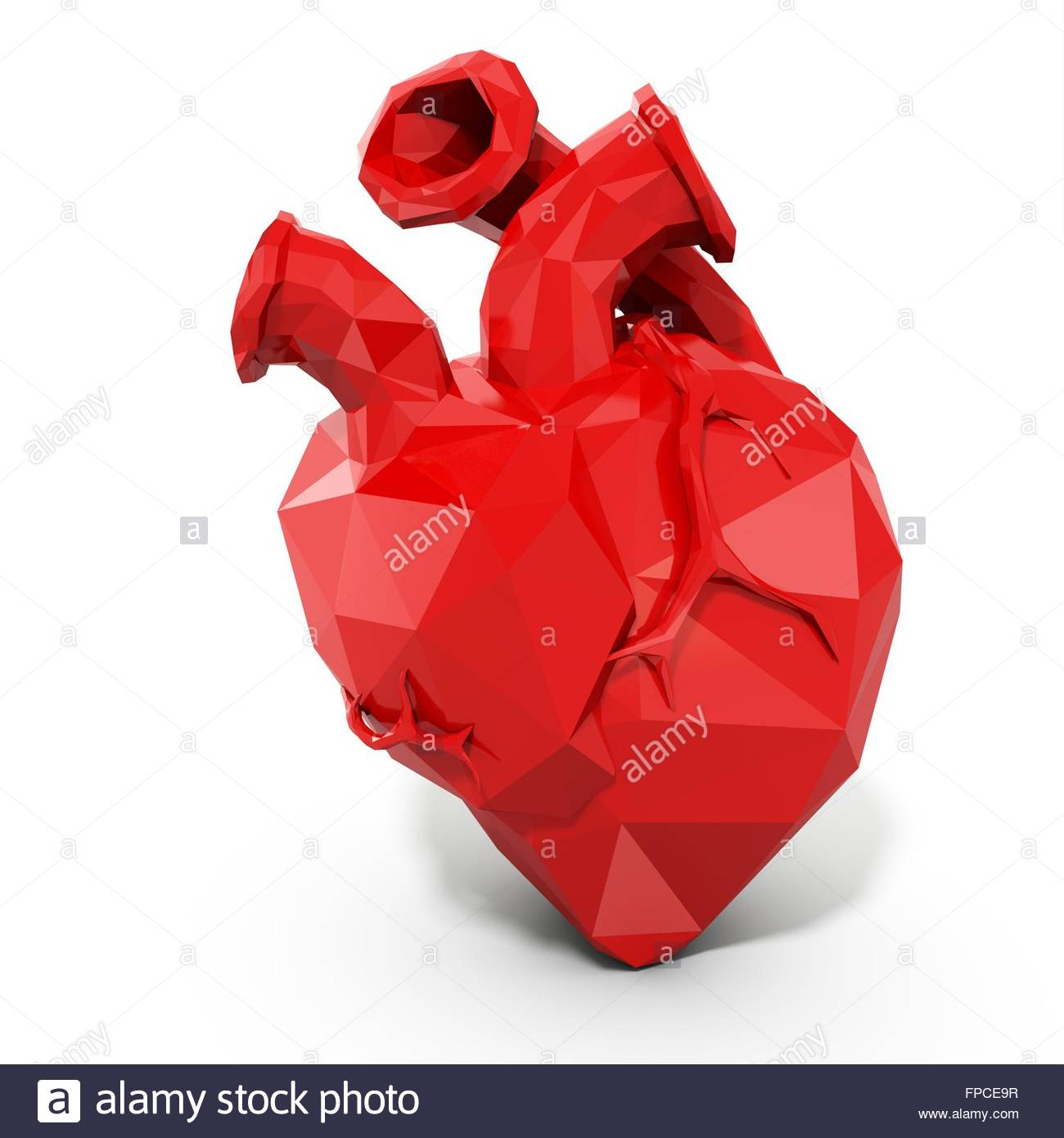 3d human heart with faceted low-poly geometry effect on