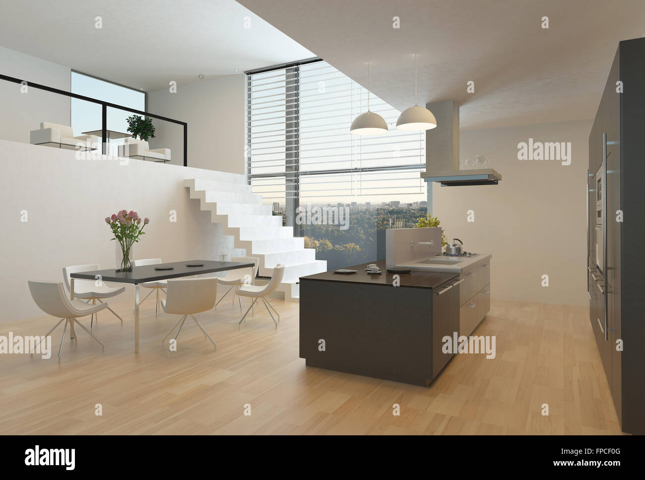 Modern kitchen interior with a central hob, wall units, dining table ...