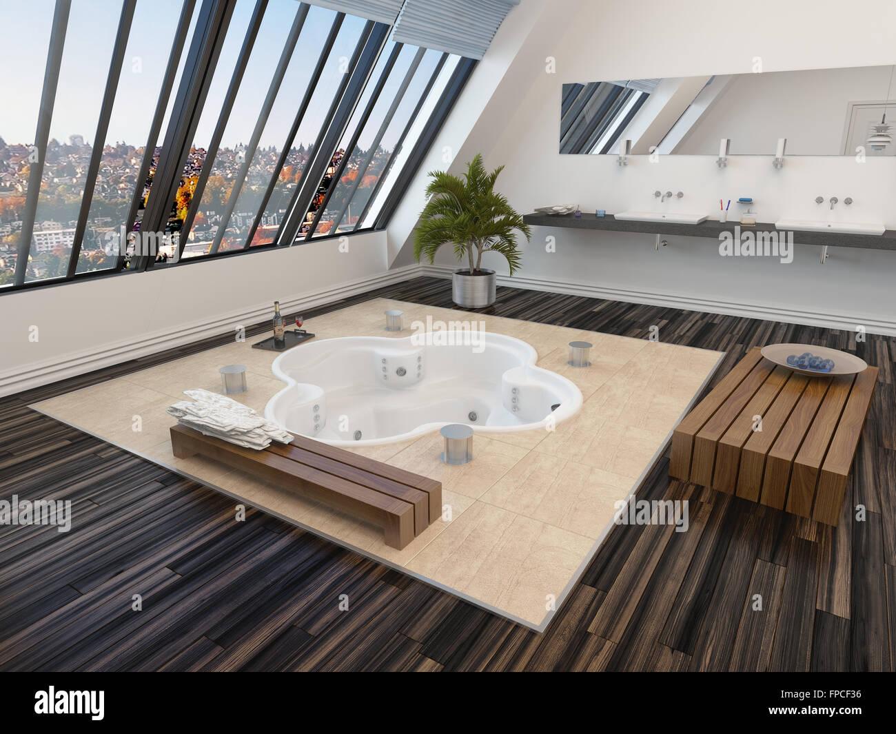 Modern bathroom interior with a sunken spa bath in a parquet floor