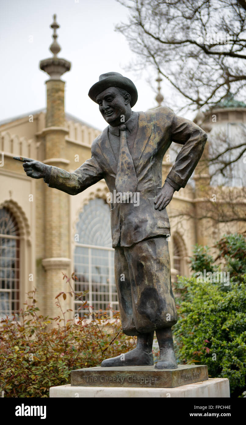 Statue of Comedian Max Miller in Pavilion Gardens, Brighton, England - Stock Image