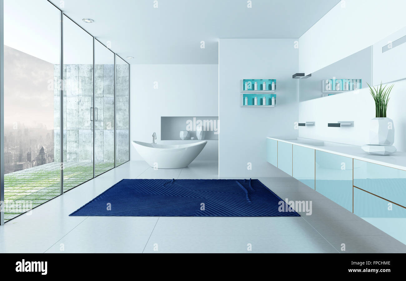 Modern design white bathroom interior with blue carpet and floor to ...