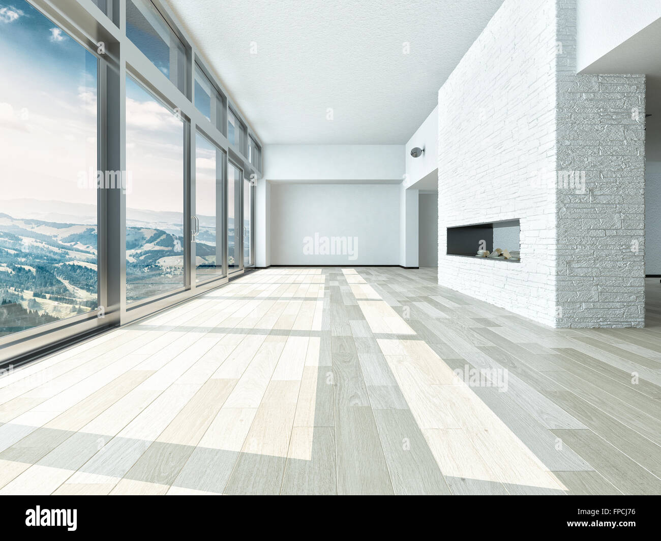 Empty Living Room Interior With A Large Floor To Ceiling View Window  Overlooking Mountains And A Valley With White Walls, White
