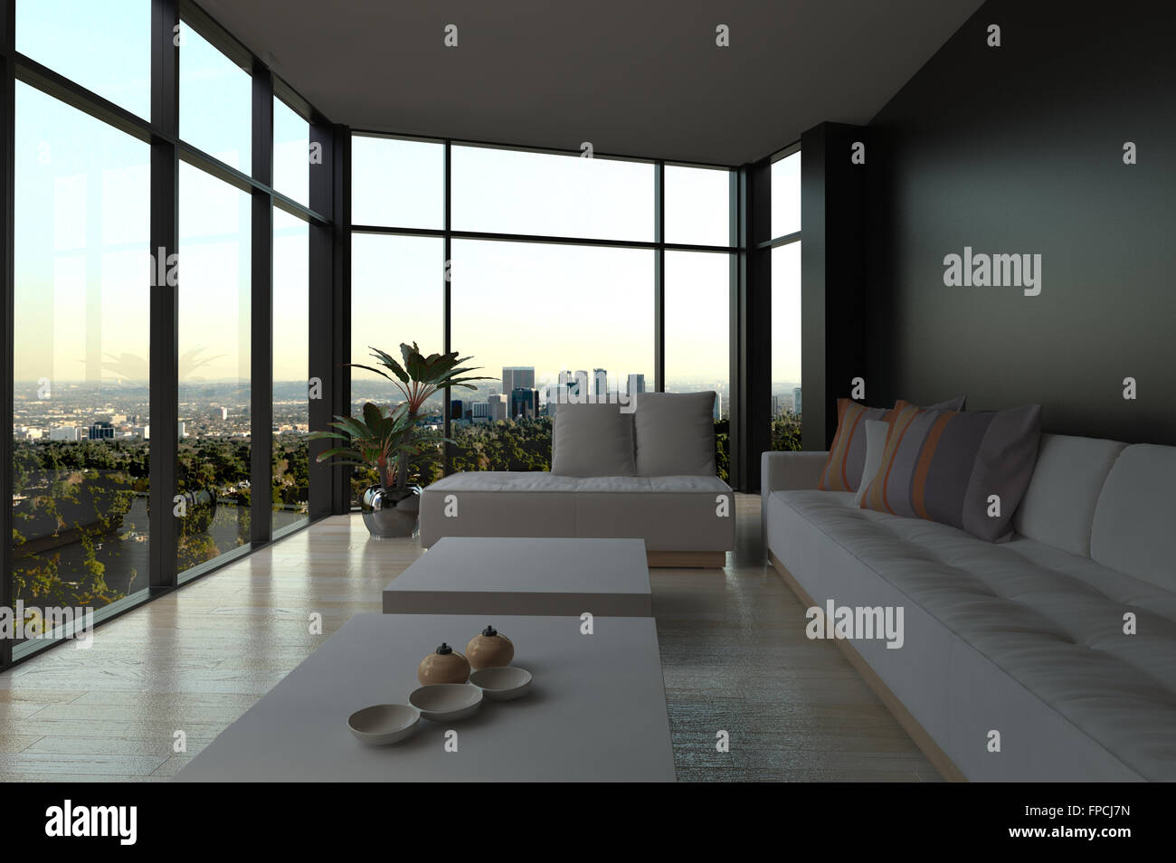 Modern Narrow Minimalist Living Room Interior In Evening Light With An  Upholstered Lounge Suite And Coffee Tables With Wrap Around  Floor To Ceiling Glass ...