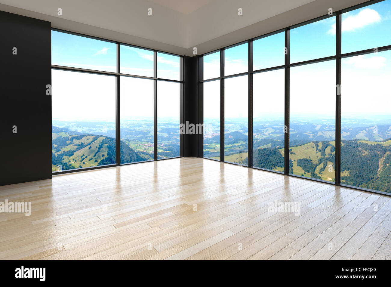 Corner View Of An Empty Living Room Interior Overlooking Mountains With  Floor To Ceiling Glass Windows Along Two Walls And A Natural Wood Parquet  Floor