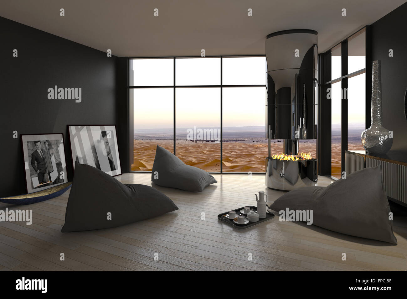 Elegant Informal Living Room Interior With Bean Bags For Seating Arranged Around An  Open Chimney On A Wooden Parquet Floor With Grey Walls And A Large View  Window