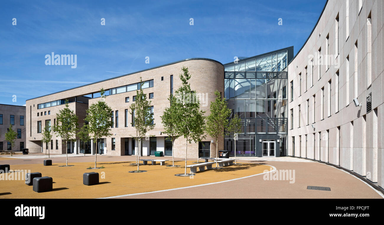 A computer generated image of the outside of Port Glasgow Shared Campus school. - Stock Image
