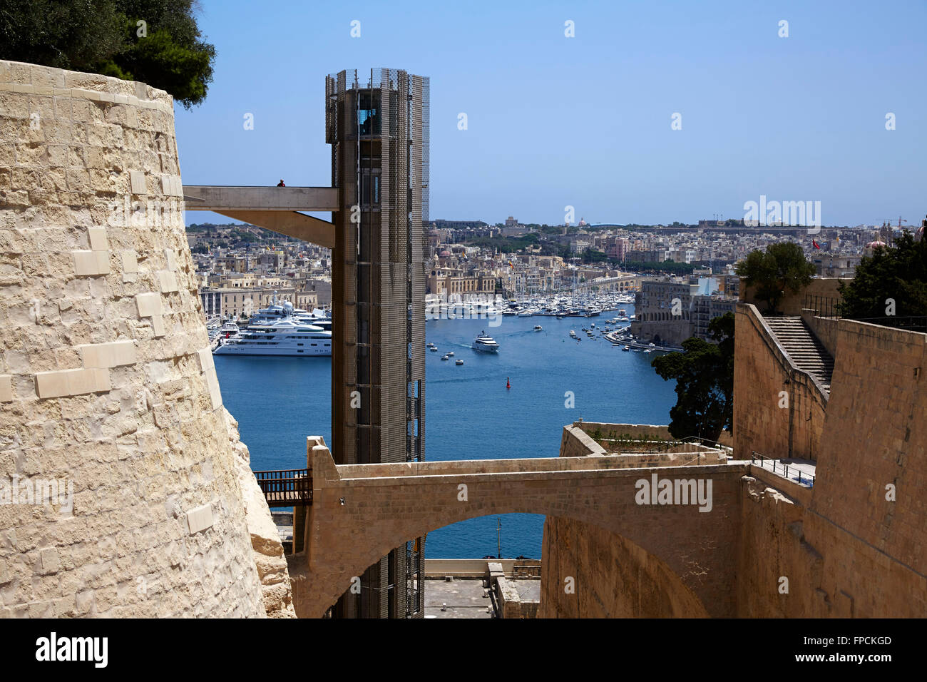A view of the Barrakka Lift in Valletta in the historic part of the town. - Stock Image