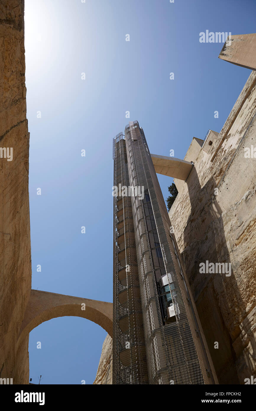 A view of the Barrakka Lift in Valletta, Malta. The sea can be seen in the distance, a sunny day. - Stock Image