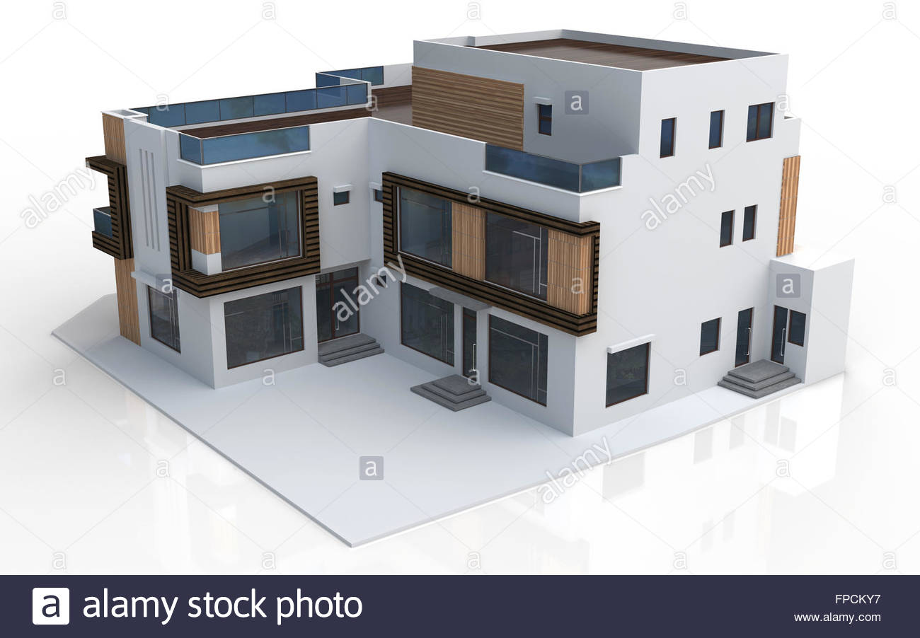 3d render of modern house on white background Stock Photo 99853355