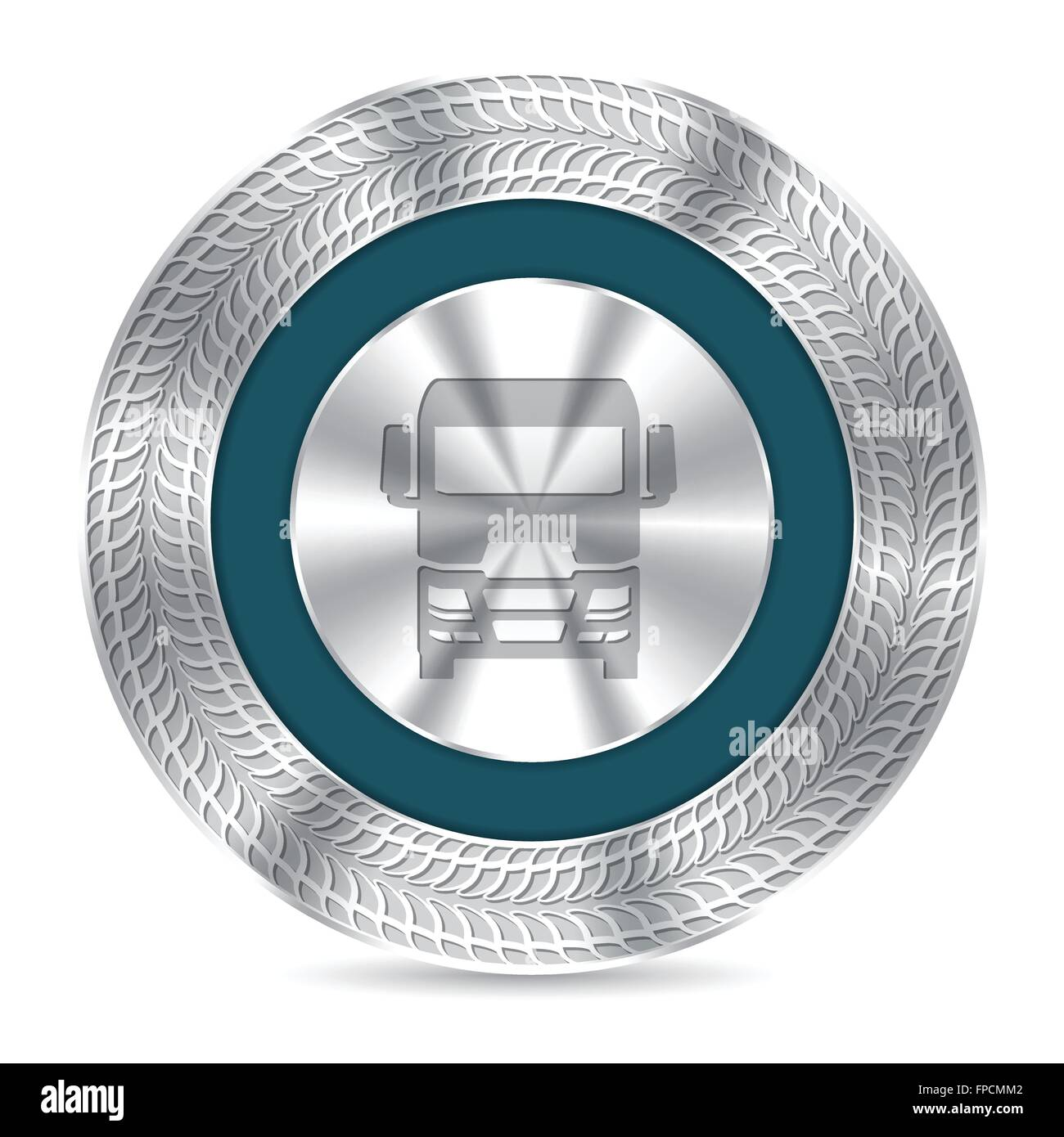 Cool metallic truck badge design with debossed tire tracks - Stock Image