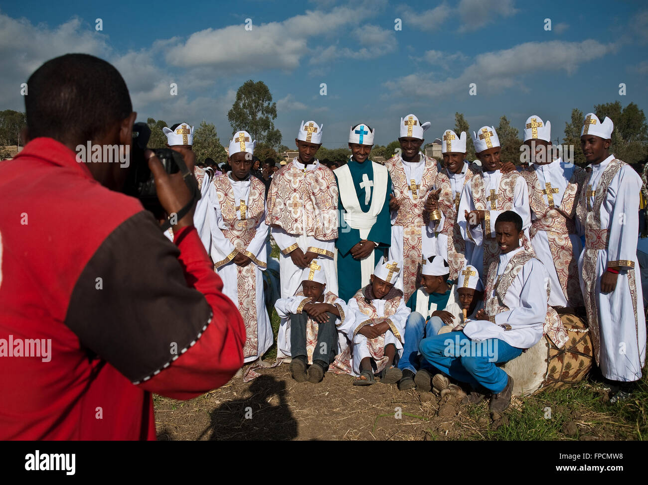 Boys studying the orthodox religion are being photographed during the festival of Timkat ( Ethiopia) - Stock Image