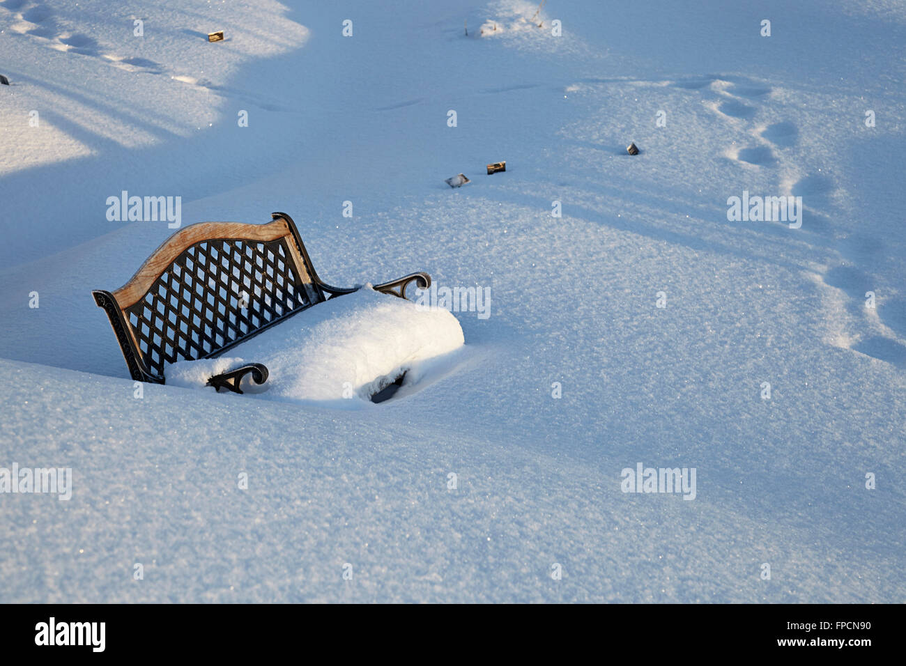 A bench in the snow, with footprints nearby. In the botanical gardens Tromso - Stock Image