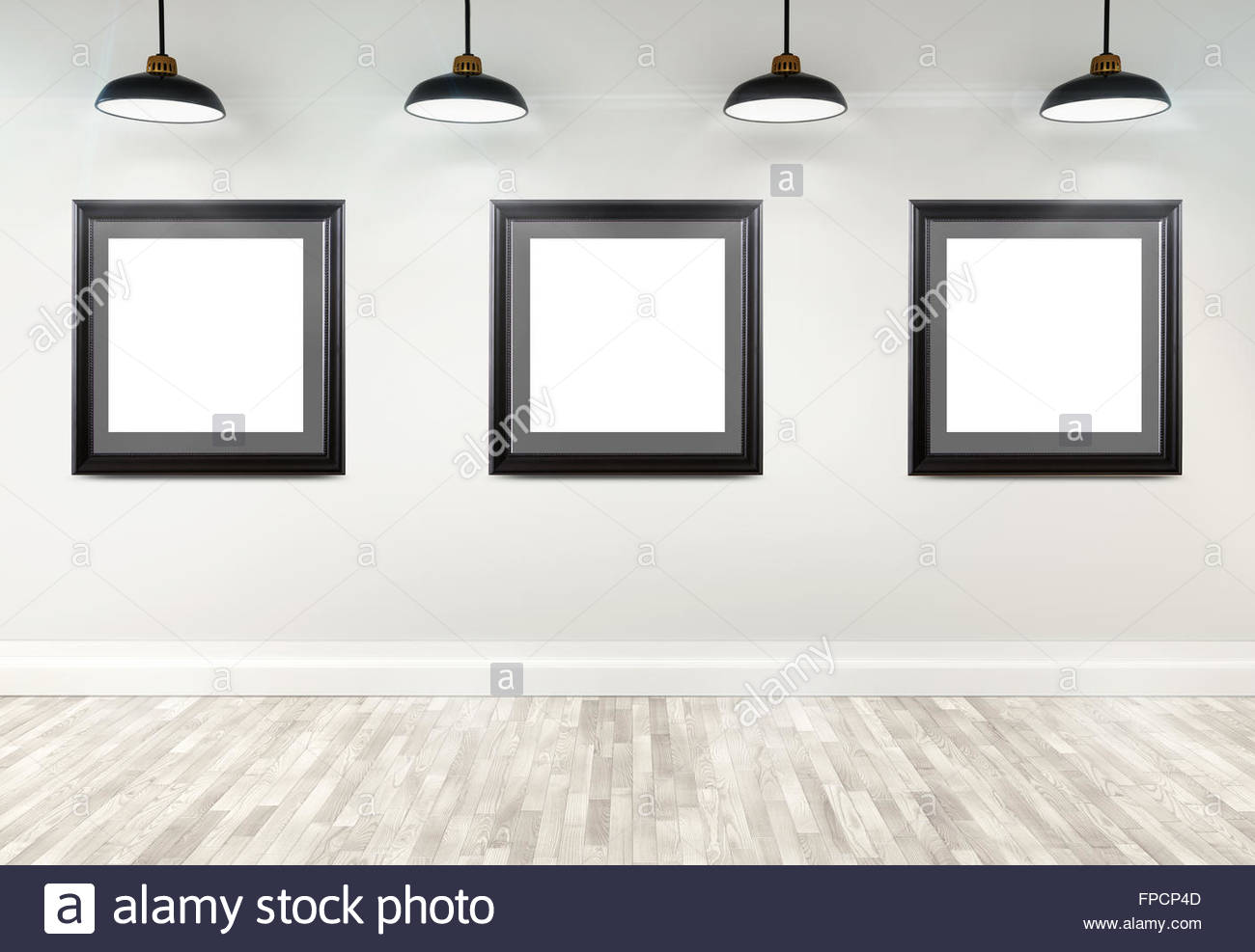 3d gallery interior with empty frames on wall Stock Photo: 99855069 ...