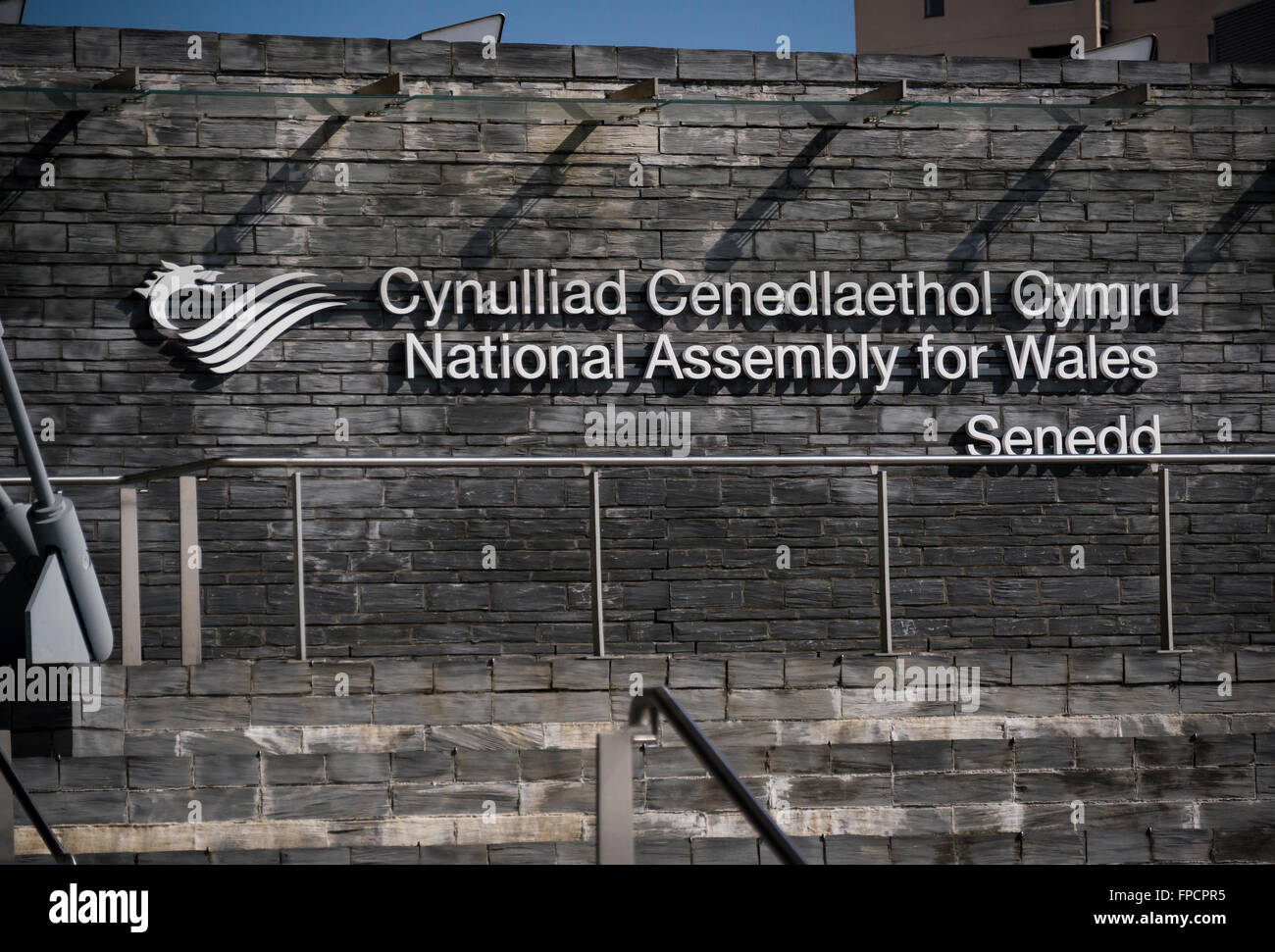 Sign of National Assembly for Wales, Cardiff Bay, Cardiff, South Glamorgan, Wales, UK, Europe - Stock Image