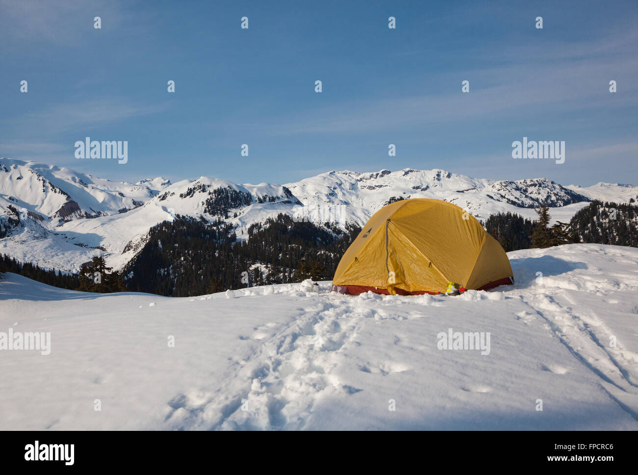 Winter Camping at Elfin Lakes, Garibaldi Provincial Park, British Columbia - Stock Image