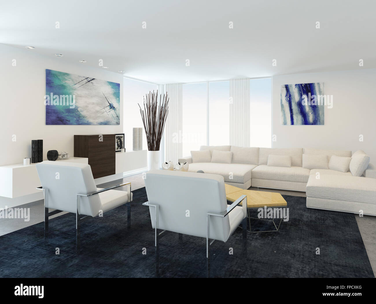 Modern white sitting or living room interior with a comfortable ...