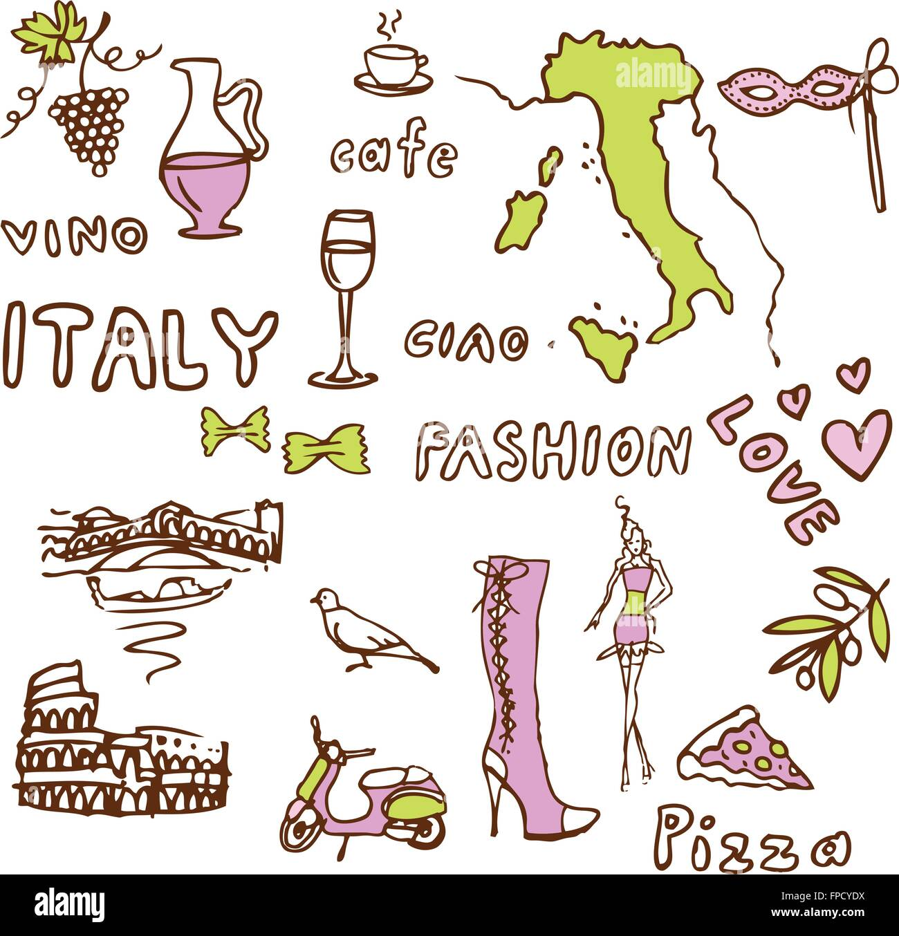 Italy doodle -sights symbols - Stock Vector