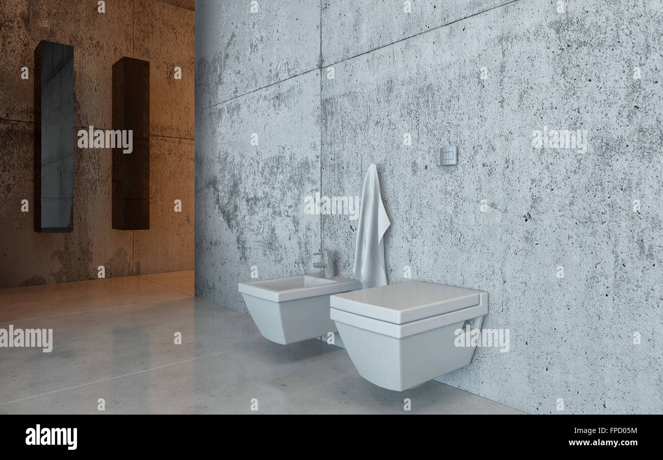 Modern wall-mounted toilet and bidet in an upscale restroom interior ...