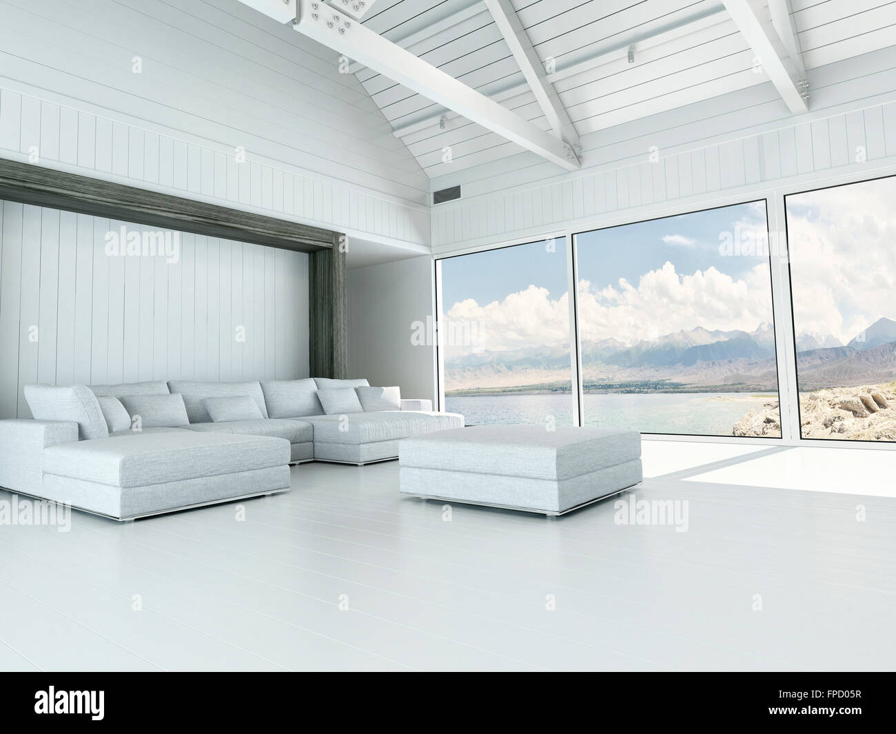 Modern white living room interior with large view windows ...