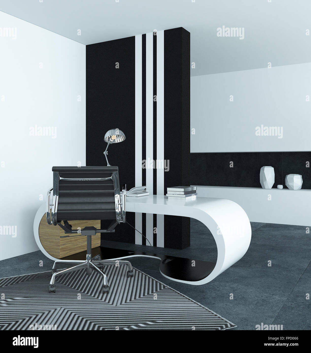 Image of: Curved Modern White Desk In A Study With A Dramatic Black And White Stock Photo Alamy