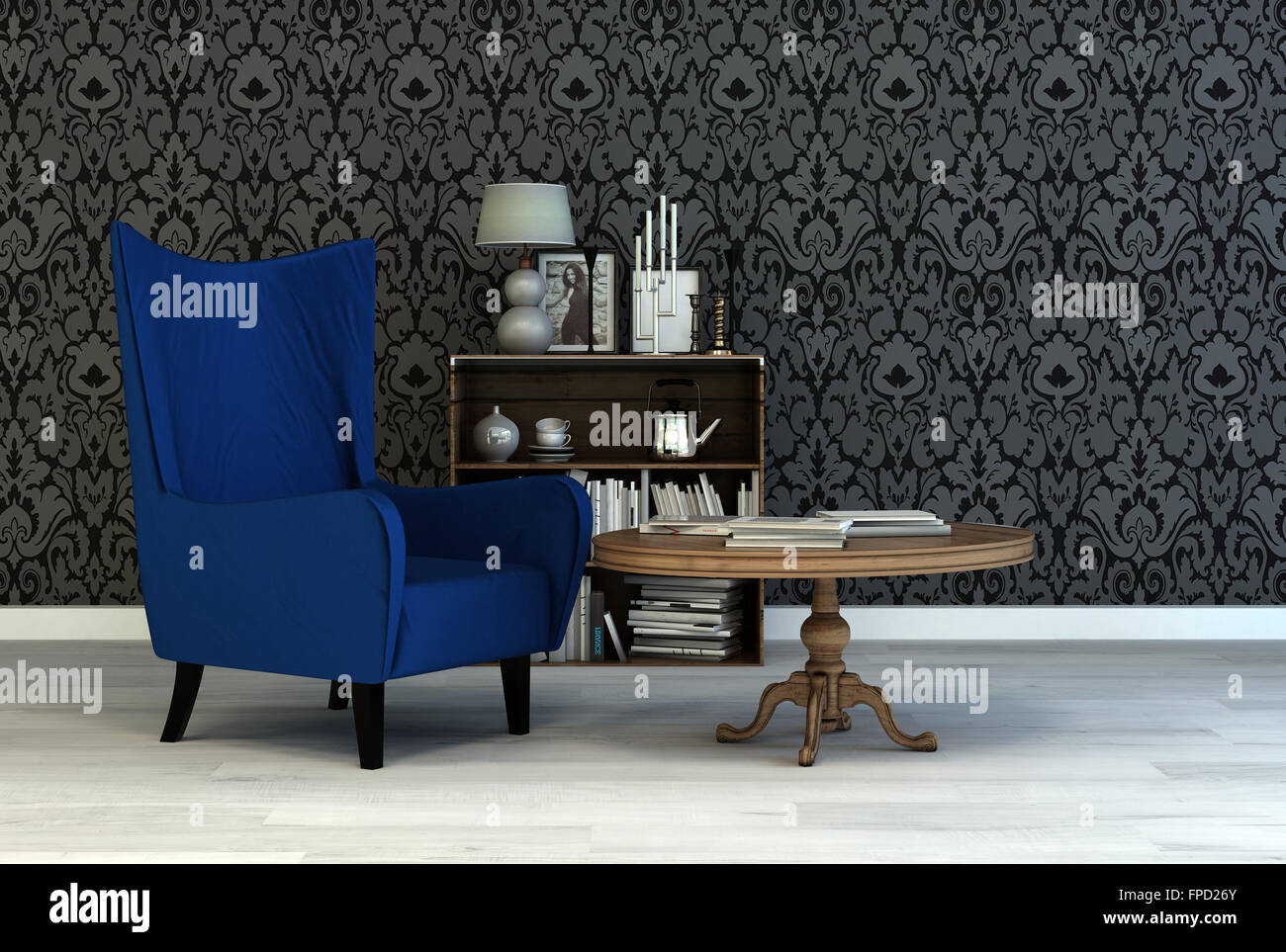 Single Vintage Blue Armchair In A Classic Living Room Interior With