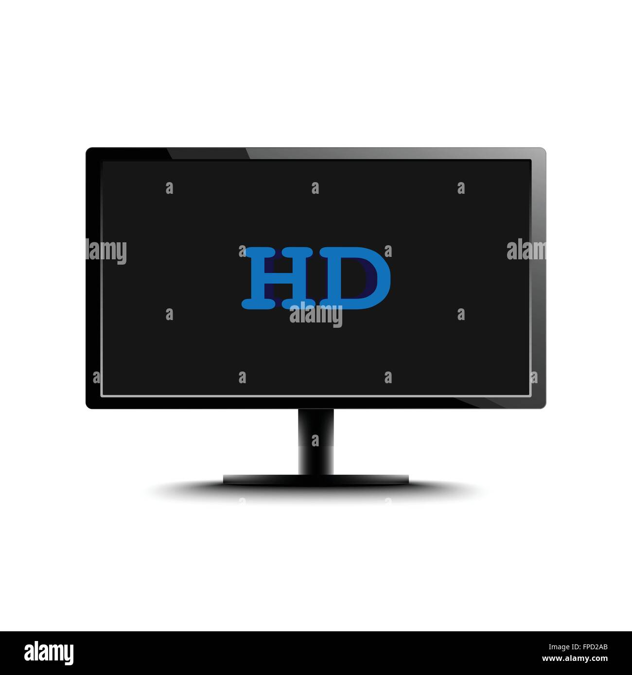 High Definition LED Monitor isolated on white background. Vector Illustration. - Stock Image