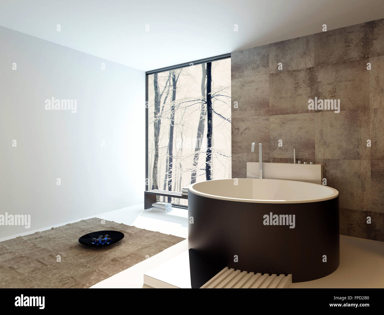 Contemporary design luxury bathroom interior with a freestanding ...