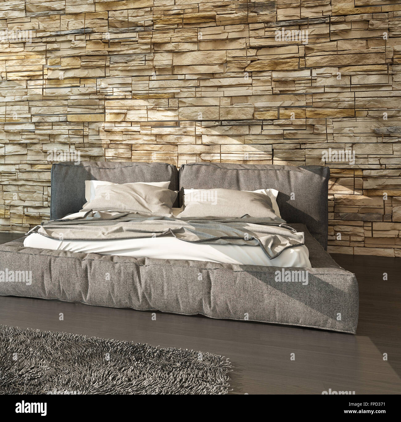 Modern bed with padded upholstered headboard and