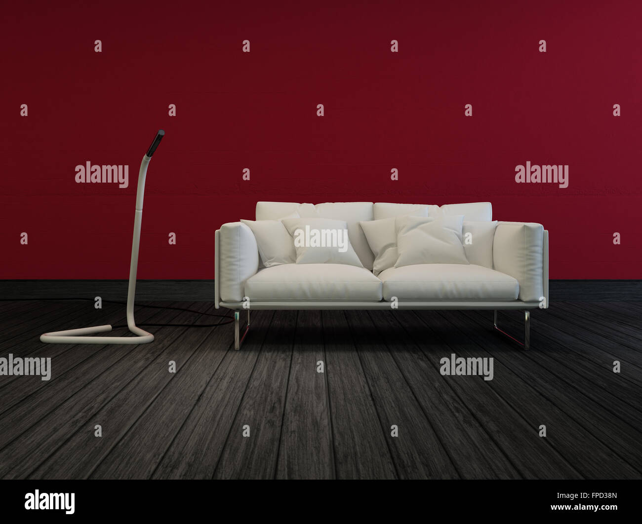 Small White Two Sealer Sofa In A Sombre Room With Red Walls And A