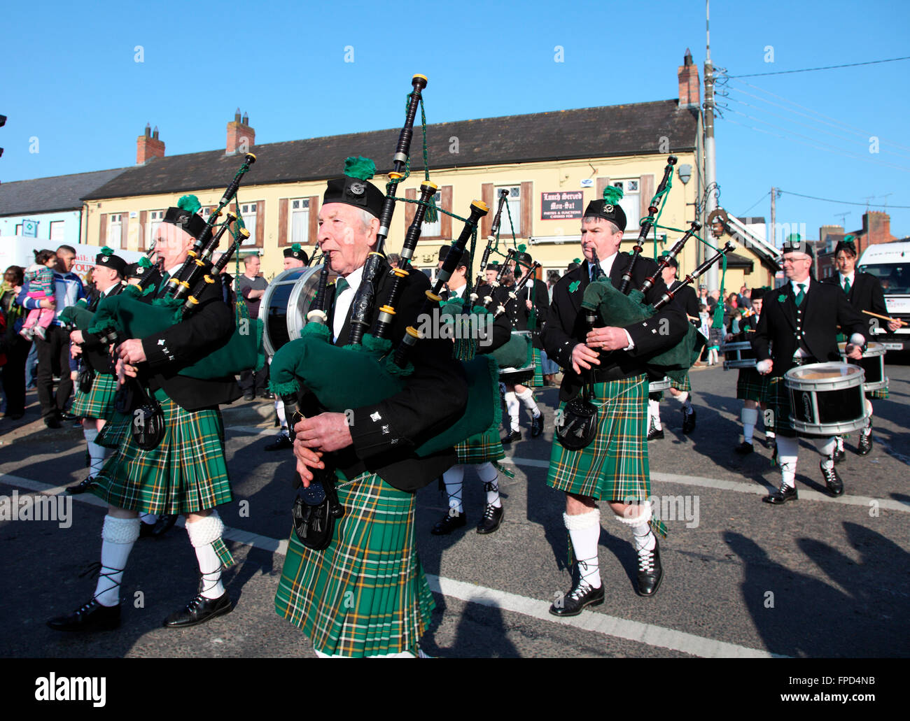 Corduff Pipe Band in Carrickmacross St Patricks Day Parade - Stock Image