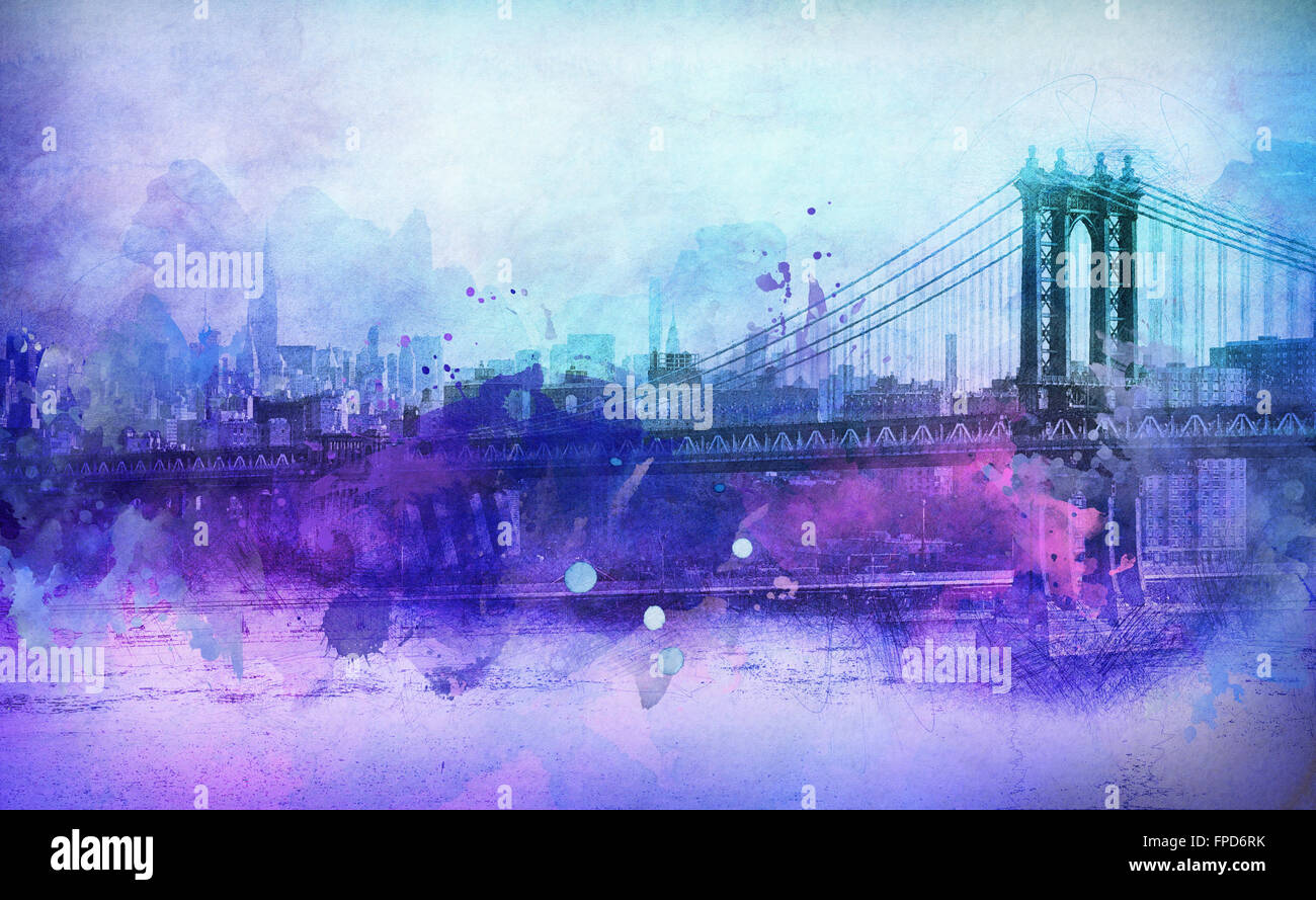 Artistic Painterly View in Shades of Purple and Blue of Famous manhattan Bridge Spanning Across East River with - Stock Image