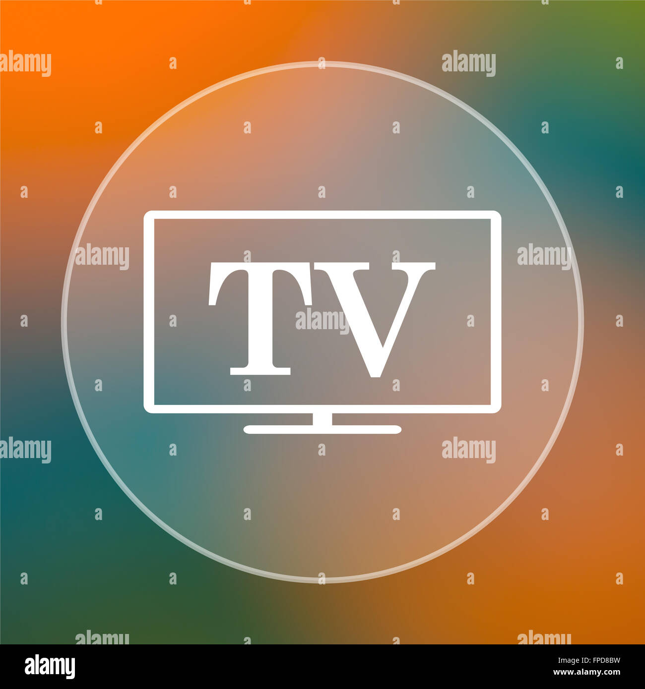 TV icon. Internet button on colored  background. - Stock Image