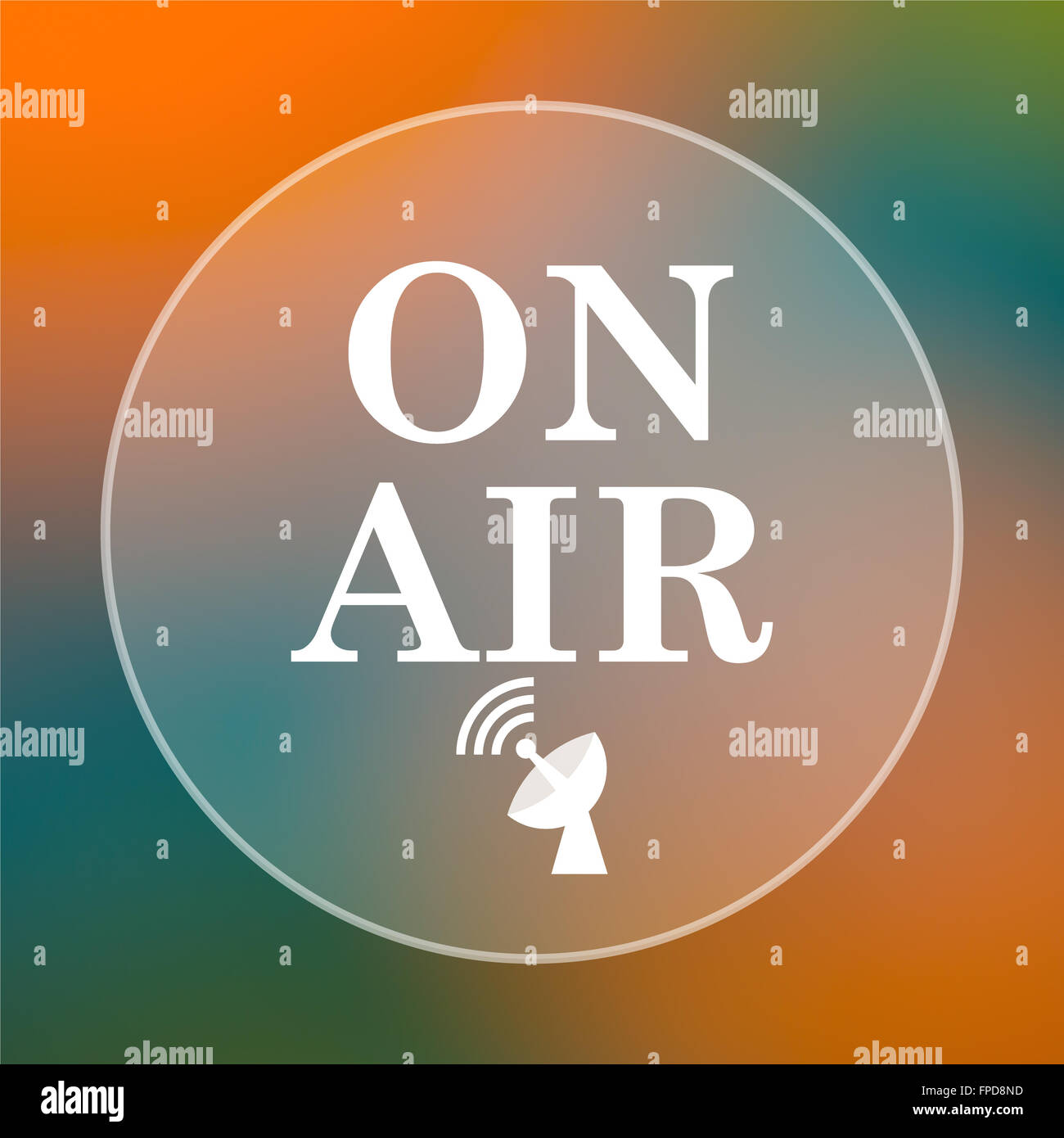 On air icon. Internet button on colored  background. - Stock Image