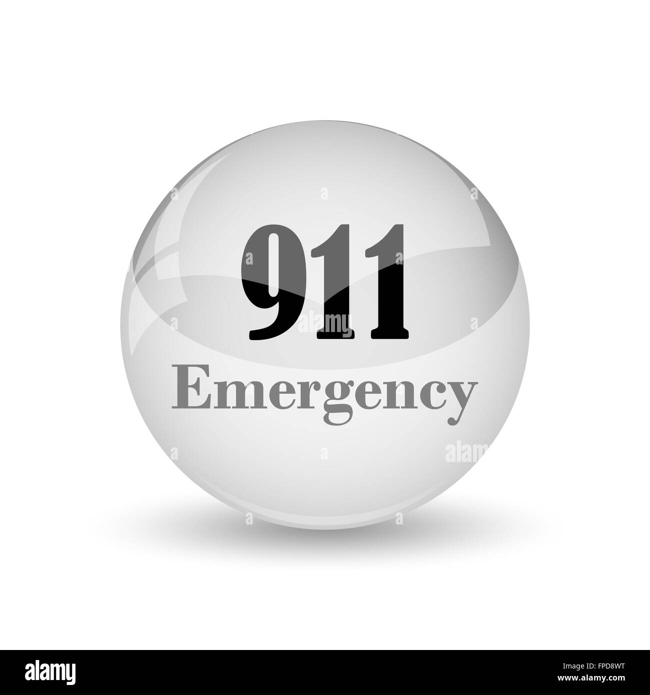 911 Emergency icon. Internet button on white background - Stock Image