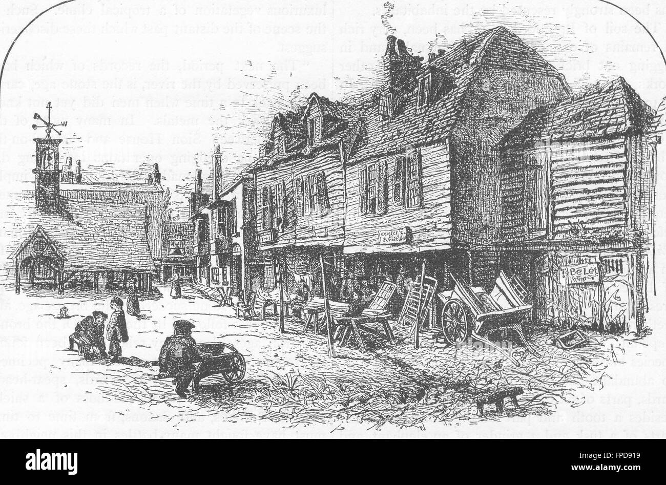 BRENTFORD: The Stables of the ' Three Pigeons,' Brentford, antique print 1888 - Stock Image