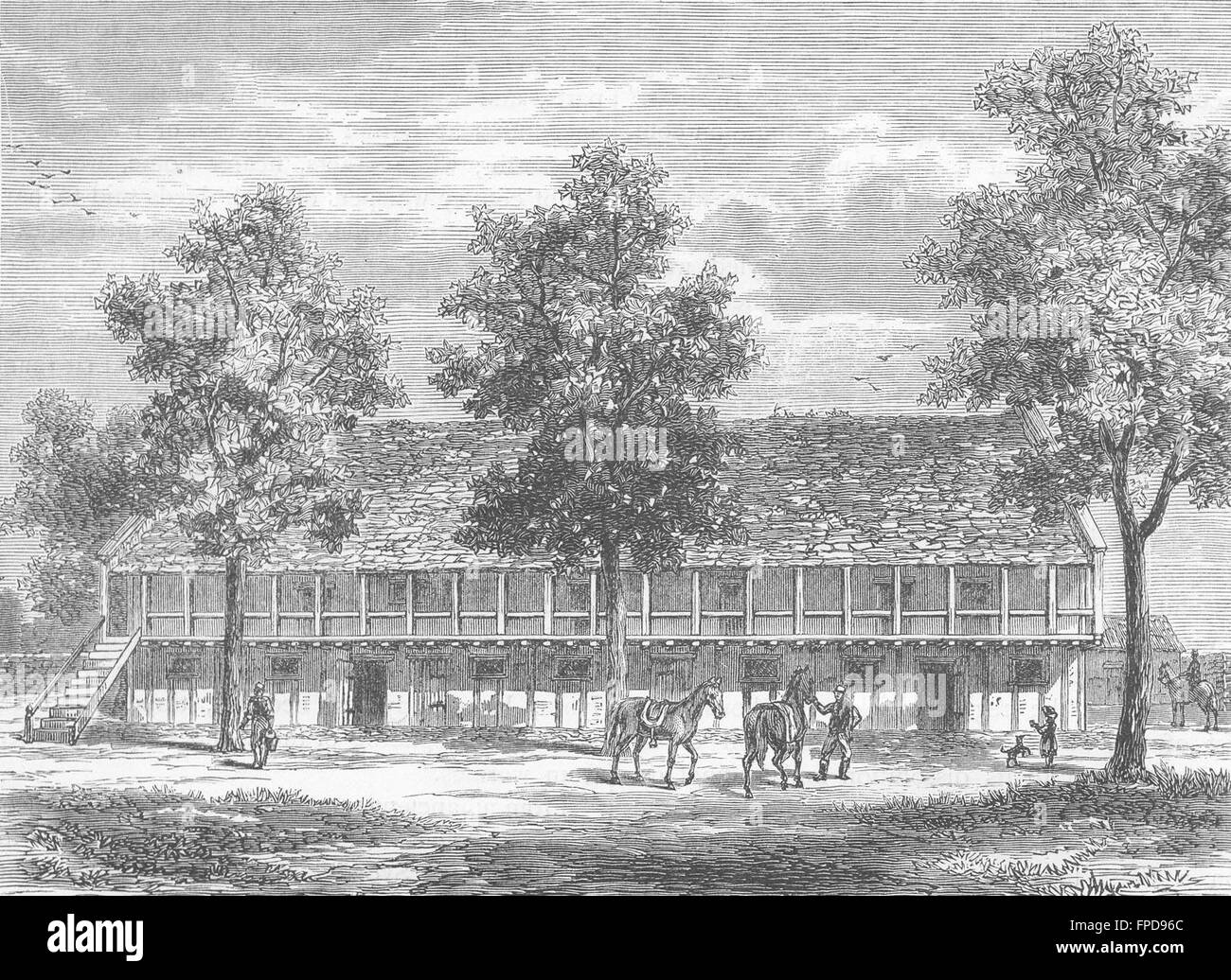 SYON HOUSE: The Old Stables at Syon House, antique print 1888 - Stock Image