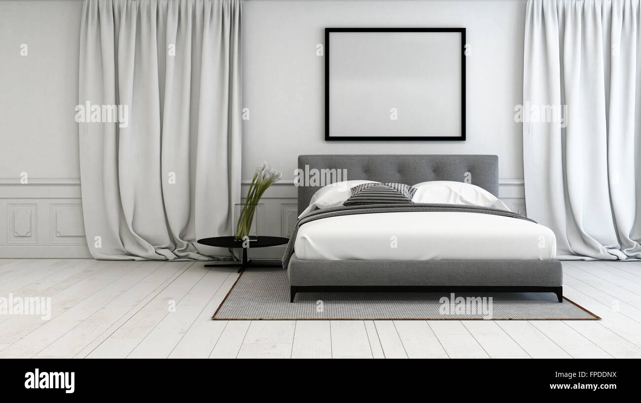Luxury Bedroom With Grey And White Interior Decor With A Double Bed Stock Photo Alamy