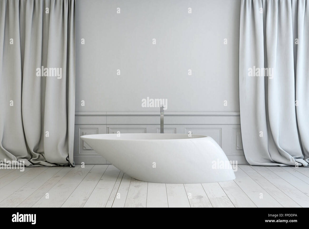 Contemporary freestanding white bath tub with an angled design in a ...