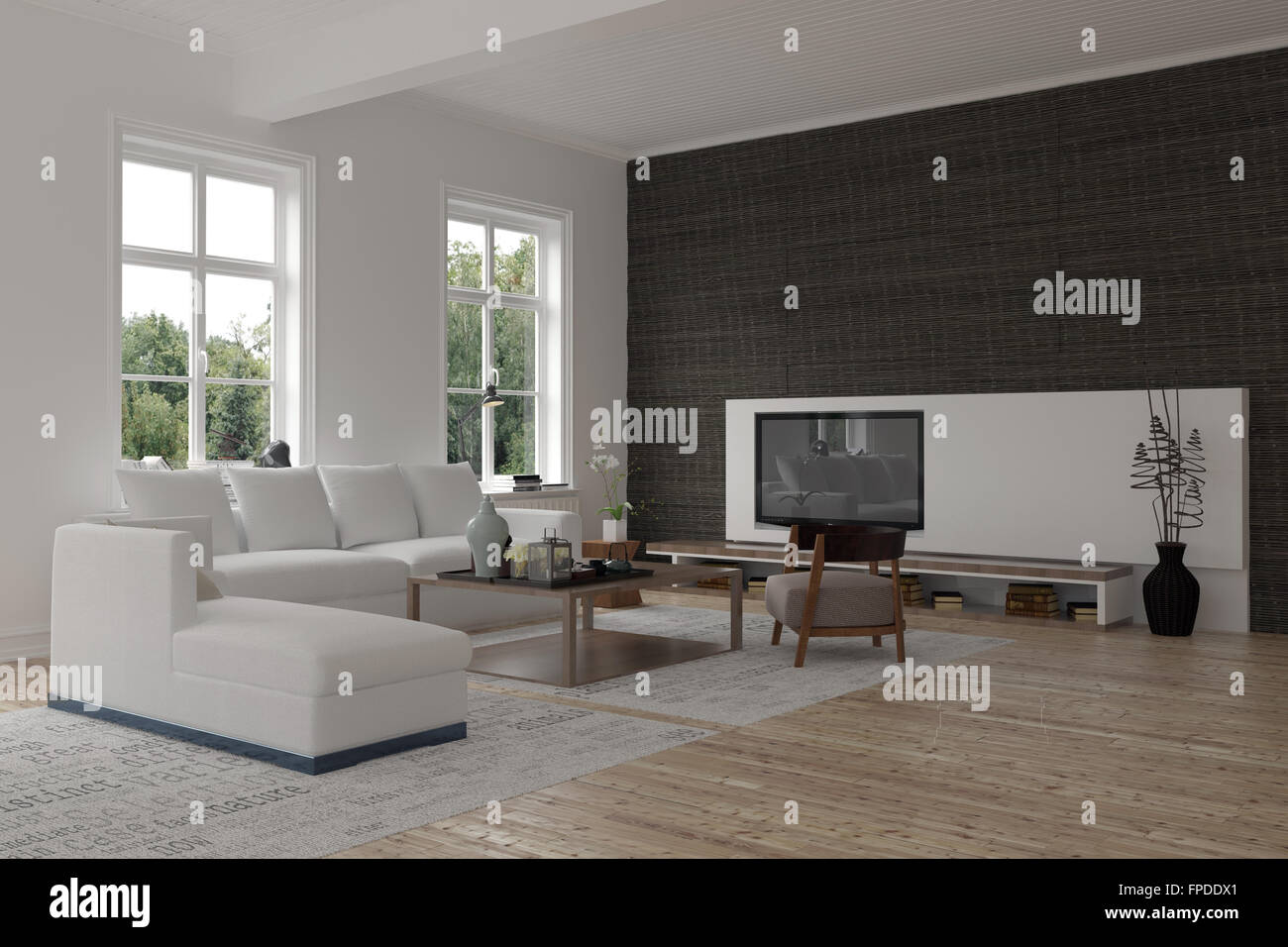 Spacious Modern Living Room Interior With A Black Accent Wall Stock Photo Alamy